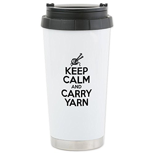 Cafepress Keep Calm And Carry Yarn Ceramic Travel Mug - Standard Multi-Color