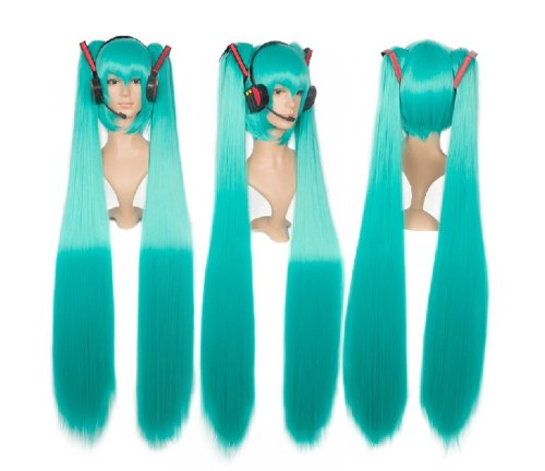 Cf-Fashion Miku'S Day Vocaloid Hatsune Miku Green Cosplay Wig Anime Costume Wigs With Handmade Prop Headset
