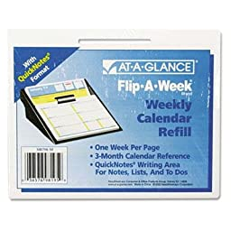 At-A-Glance - 3 Pack - Flip-A-Week Desk Calendar Refill With Quicknotes Format 5 5/8\