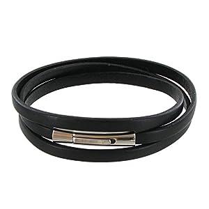 Bijoux Les Poulettes - Bracelet Homme Cuir Noir Plat Fermoir Acier Inoxydable