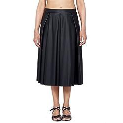 Danzon Women's Pleated Skirt (SLS90031_Black_Large)