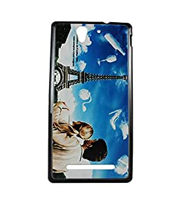 Exclusive Hard Back Case Cover For Sony Xperia C3 C 3 - Couple With Effiel Tower