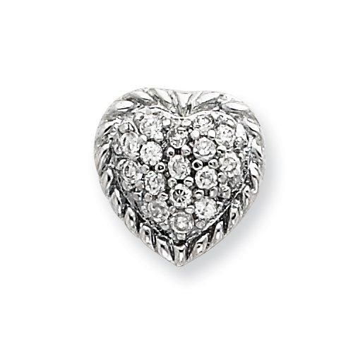 Sterling Silver CZ Heart Slide