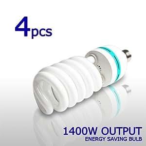 4 x Digital Full Spectrum Light Bulb 85W Photo CFL 6500K, Daylight balanced, Pure White, LimoStudio LMS120