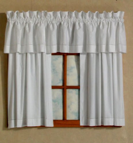 tier curtains: D. Kwitman and Son Hemstitch Tiers, 24-Inch, White