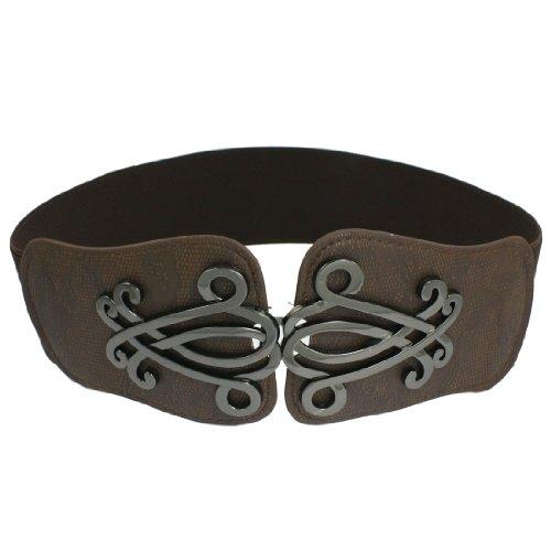 Lady Faux Leather Floral Interlock Buckle Elastic Waist Belt Cinch