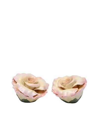 Porcelain Peace Rose Salt & Pepper Shaker Set As You See