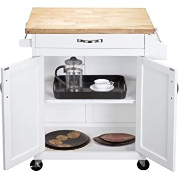 Kitchen Cart Rolling Island Storage Unit Cabinet Utility Portable Home Microwave Wheels Butcher Wood Top Drawer Shelf (White)