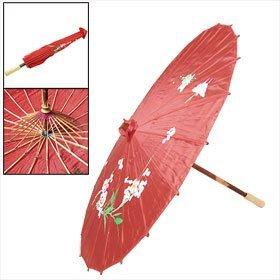 Marco de bambú rojo floral Nylon plegable Parasol japonés