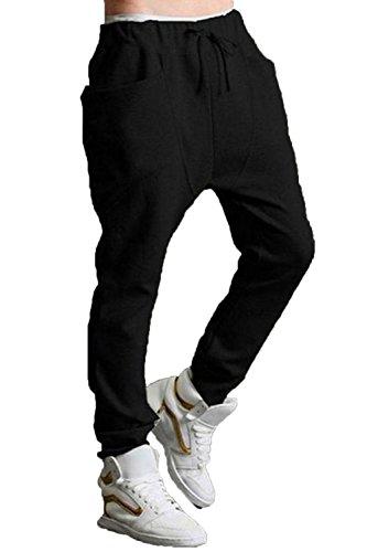 2014 Men Casual Hip Hop Dance Sweat Sport Harem Pants Trousers Slacks (Us Xs(Tag M), Black)