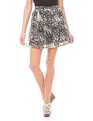 Shuffle Women's Leopard Print Short Skirt (1021517201_Multi Color_Small)