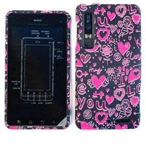 MOTOROLA DROID 3 XT862 Pink Hearts on Black HARD PROTECTOR COVER CASE / SNAP ON PERFECT FIT CASE