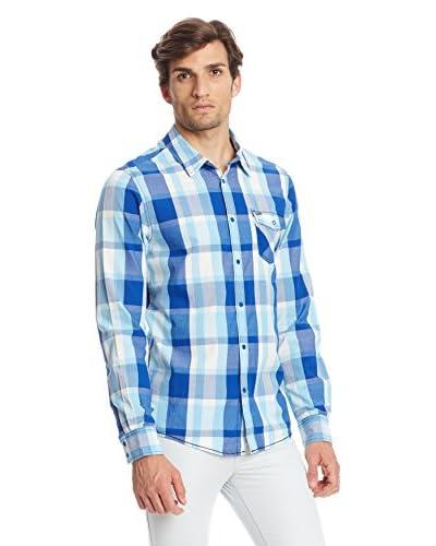 Adidas Camicia Uomo Plaid [Blu]