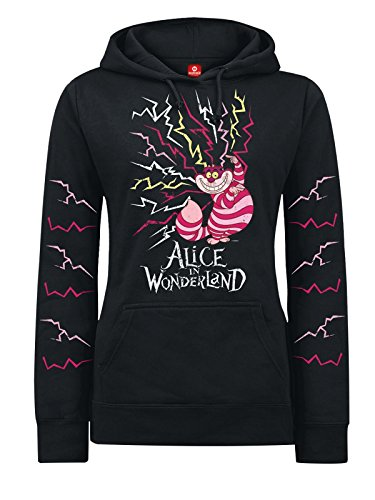 Walt Disney Alice in Wonderland - Lightning Cheshire Felpa donna nero XL