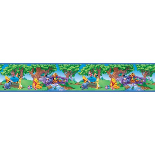 Blue Mountain Wallcoverings DS026295 Pooh Scenic Self-Stick Wall Border, 5-Inch by 15-Foot