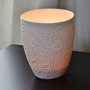 Amazoncom paisley votive candle holder white home for Kitchen colors with white cabinets with star of david candle holder