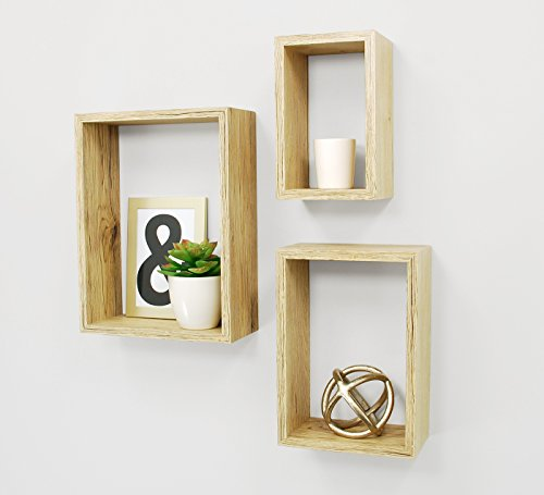 Kiera Grace Nesting Contemporary Floating Wall Shelves,  5 by 8 Inch , 7 by 10 Inch , 9 by 12 Inch - Pale Natural Wood Finish, Set of 3 (Natural Wood Shelf compare prices)