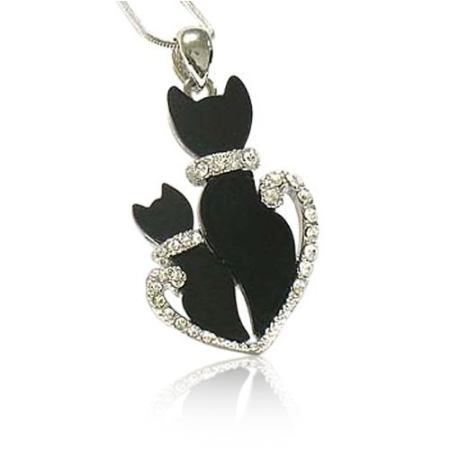 Crystal Deco Dual Black Kitty Cat White Gold Plated Pendant Necklace Jewelry