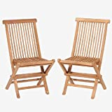 TEAK Armless Folding Chairs. (Teak) Will fold flat for easy compact storage. If left natural will weather to a gray natural finish or varnish to a brilliant Bristol finish! Chairs sold as a pair