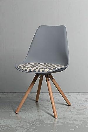 MY-Furniture - Conjunto de 2 Reno Chevron Silla Gris con patas de madera