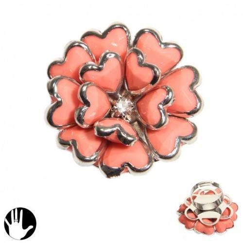 Sg Paris Fashion Jewellery Ring Adjustable Woman Plastic Pink Flower