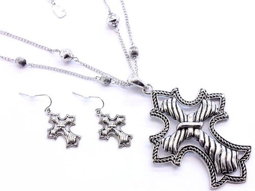 NECKLACE AND EARRING SET 2 STRAND METAL CASTING SILVER Fashion Jewelry Costume Jewelry fashion accessory Beautiful Charms