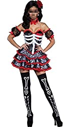 ThinkMax Halloween Women's Colorful Skeleton Devil Costume for Party or Stage Showing