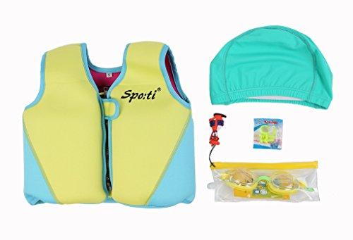 Genwiss giallo Baby child life-Giubbotto salvagente per barca per kayak Racing & 1-7 anni Occhialini da nuoto e nuota naso e cuffia da nuoto
