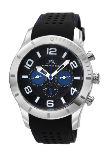 Porsamo Bleu Etienne Silicone Silver Tone, Black & Blue Men's Watch 212BETR