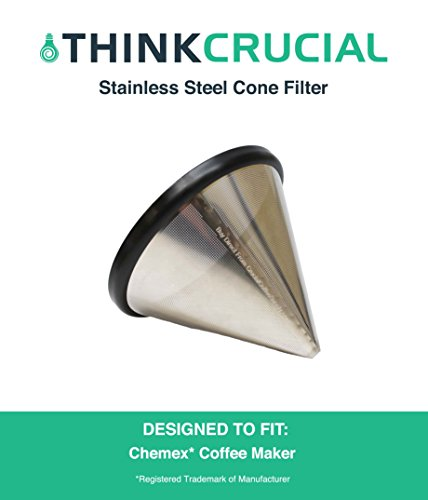 Washable & Reusable Stainless Steel Cone Coffee Filter Fits Chemex 6, 8 & 10 Cup Coffee Makers, Designed & Engineered by Crucial Coffee (Reusable Chemex Coffee Filter compare prices)