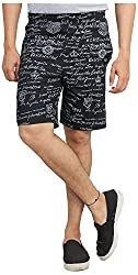 Broche Men's Cotton Shorts (Broche9005_L, Black, Large)