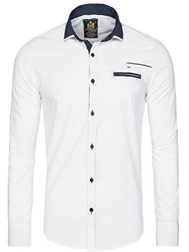 OZONEE Herren Klassisch Hemd Freizeithemd Langarm Shirt Casual Slim Fit RAW LUCCI 785 WEIß M