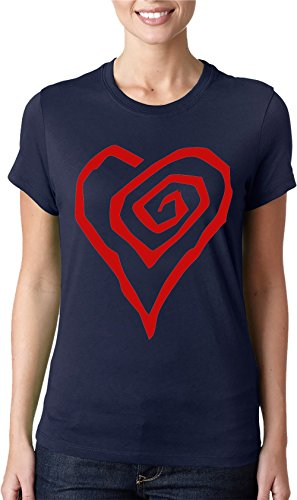 Marilyn Manson-Maglietta da donna con Logo a forma di cuore, Maglietta classica blu XX-Large