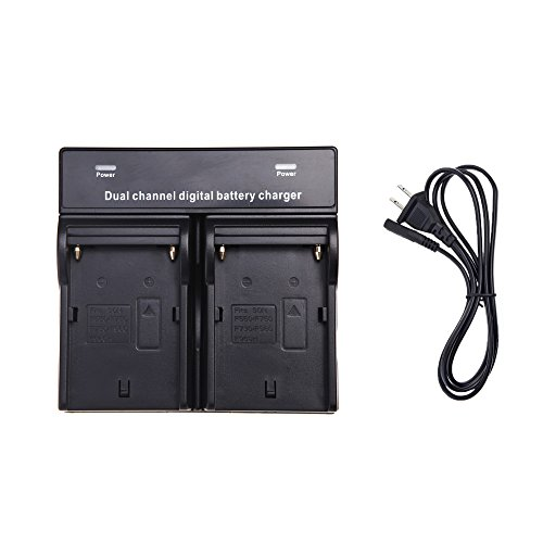 Ravtech(Tm) Dual Ac/Dc Digital Battery Charger For Sony Np-F970 F750 F960 Qm91D Fm50 Fm500H Fm55H Battery Camera Black