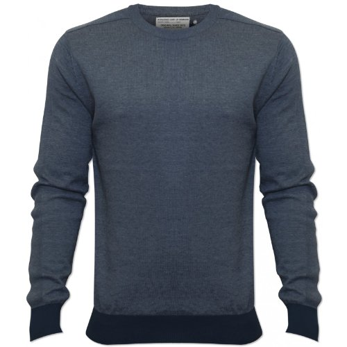 Jack and Jones Mens Blue Hoger Jumper Thin Crew Neck 100% Cotton NEW Blue X-Large