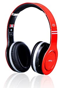 MiiKey Wireless MiiRhythm Stereo Bluetooth Headphones for iPhone - Bluetooth Headset - Retail Packaging -Red