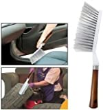 "Long Bristles Wooden Handle ""HOKIPO"" Brand Cleaning Duster Brush - For Car Seats, Carpet, Mats,Multi-Purpose Use"