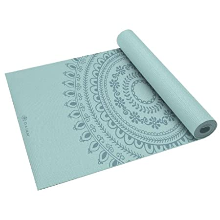 Part of practicing yoga safely means having the right, durable yoga mat to assist you in yoga poses. This mat is cushioned, and has a light-tack non-slip surface with just the right cushioning for your bones and joints. Spot clean with Gaiam's Mat Cl...