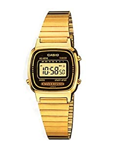 Casio Women's Core LA670WGA-1 Gold Stainless-Steel Quartz Watch with Digital Dial