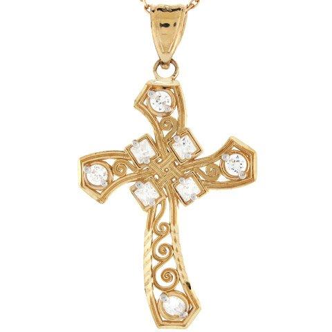 10k Gold Diamond Cut Unique Cross Religious Christian Catholic CZ Charm Pendant