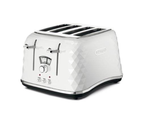 De'Longhi Brillante Faceted 4-Slice Toaster, White from Delonghi