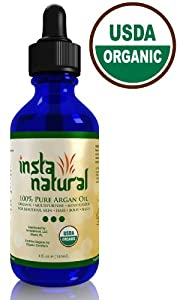Organic Argan Oil 100% Pure for Hair, Face, Skin & Nails 4 Oz/120 ml ★ By InstaNatural | USDA Certified | Best Argania Spinosa & Moroccan Cold Pressed, Unrefined Virgin Argan Oil | Great for Acne, Dry Scalp, Body, Cuticles - 100% Guarantee