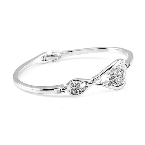 Perfect Gift - High Quality Elegant Bangle with Silver Swarovski Crystal (3671) for Birthday Anniversary Free Standard Shipment Clearance