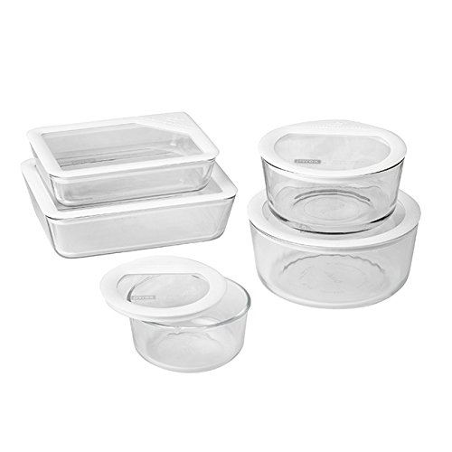 Pyrex 10 Piece Ultimate Food Storage Set, White/Clear (Top Wedding Registry Items compare prices)