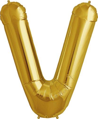Letter V - Gold Helium Foil Balloon - 34 inch