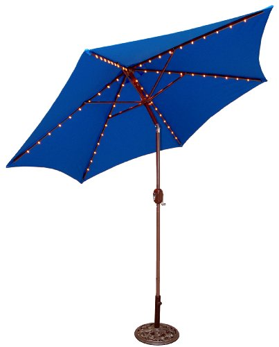 Tropishade Tropilight LED Lighted 9 ft Bronze Aluminum Market Umbrella with Royal Blue Polyester Cover (Lighted Outdoor Umbrella compare prices)