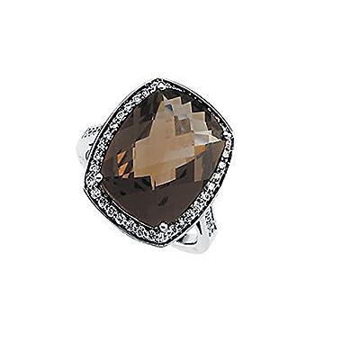 Diamond & 9.70 Carats Smokey Quartz Ring 14K White Gold