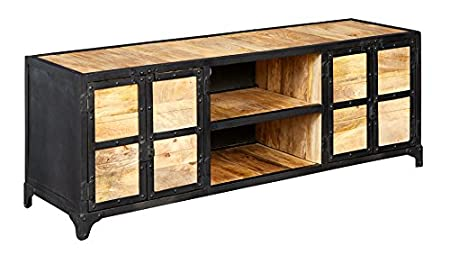 Electra Design Milan Industrial Metal & Wood Untreated Natural Wood Grain/Reclaimed Metal with Banded Iron Edges Media Unit, 140 x 40 x 50 cm, Natural/Black