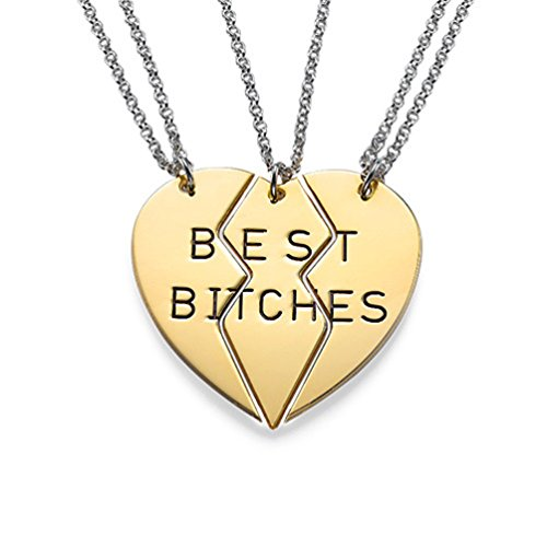 BFF Best Bitches 3 Piece Split Heart Chain Necklace Costume Accessory