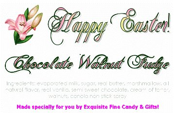 Happy Easter Lilly Chocolate Walnut Fudge Box - 1 Pound (Gourmet,Exquisite Fine Candy & Gifts,Gourmet Food,Chocolate,Fudge)